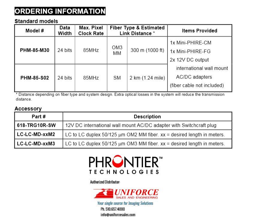 Mini Phire order chart