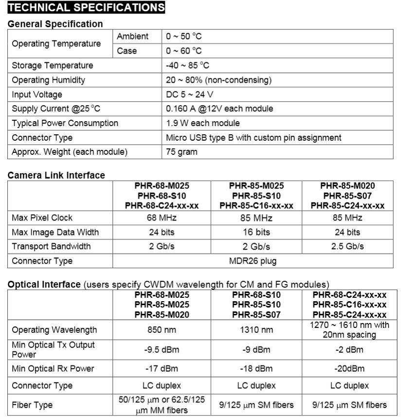 PHIRE Specs Chart phrontier technologies